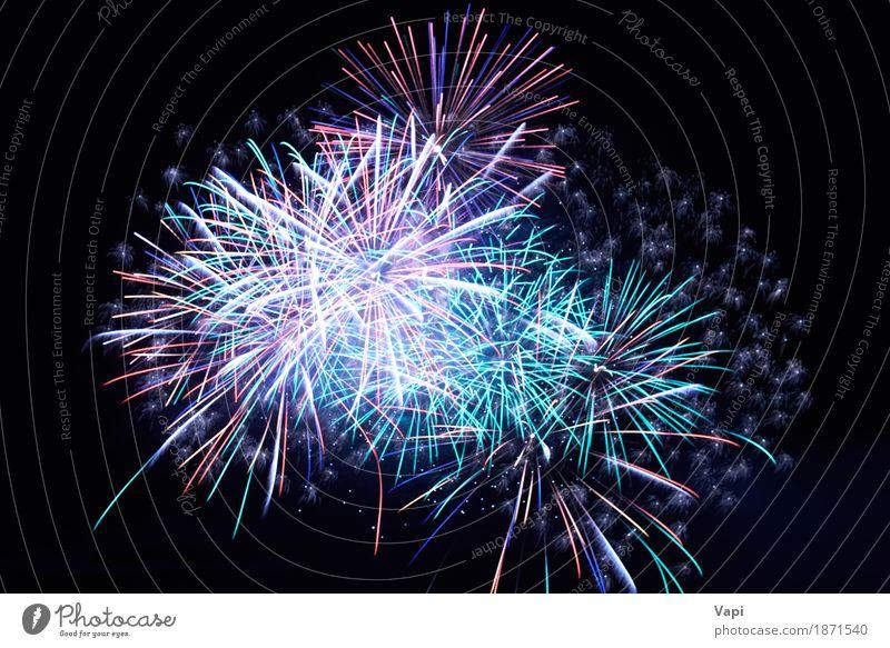 Blaue bunte Feuerwerke auf dem schwarzen Himmel blau Weihnachten & Advent Farbe grün weiß rot Freude dunkel Kunst Freiheit Feste & Feiern Party Design hell