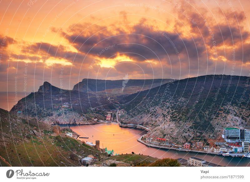 Altgriechisches Schloss auf der Küste Himmel Natur Ferien & Urlaub & Reisen alt blau Sommer weiß Sonne Meer Landschaft Wolken Berge u. Gebirge schwarz Umwelt