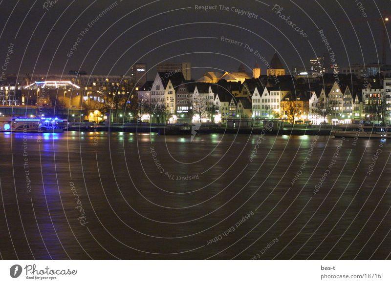 Altstadt bei Nacht Kölle! Stadt Haus groß Europa Fluss Karneval Köln Rhein