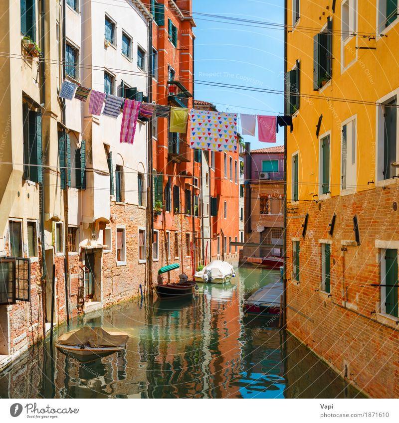 Grand Canal und Basilika von Santa Maria della Salute am sonnigen Tag Himmel Ferien & Urlaub & Reisen alt blau Sommer Stadt grün weiß Landschaft rot Haus