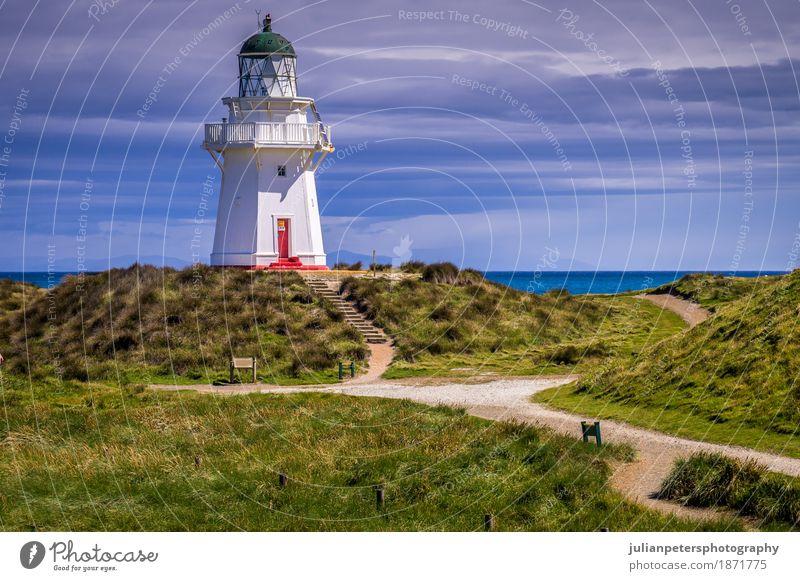 Waipapa-Punkt-Leuchtturm Neuseeland Ferien & Urlaub & Reisen Tourismus Meer Insel Haus Natur Landschaft Himmel Wolken Gras Hügel Küste Platz Gebäude Architektur