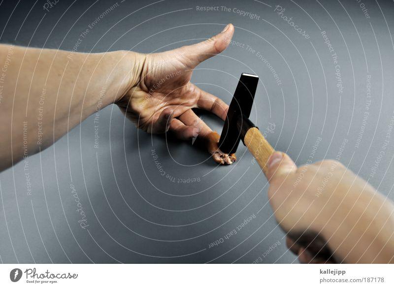 alles kommt unter den hammer Fleisch Wurstwaren Ernährung Werkzeug Hammer Mann Erwachsene Haut Arme Hand Finger 1 Mensch trashig Kreativität Verletzungsgefahr