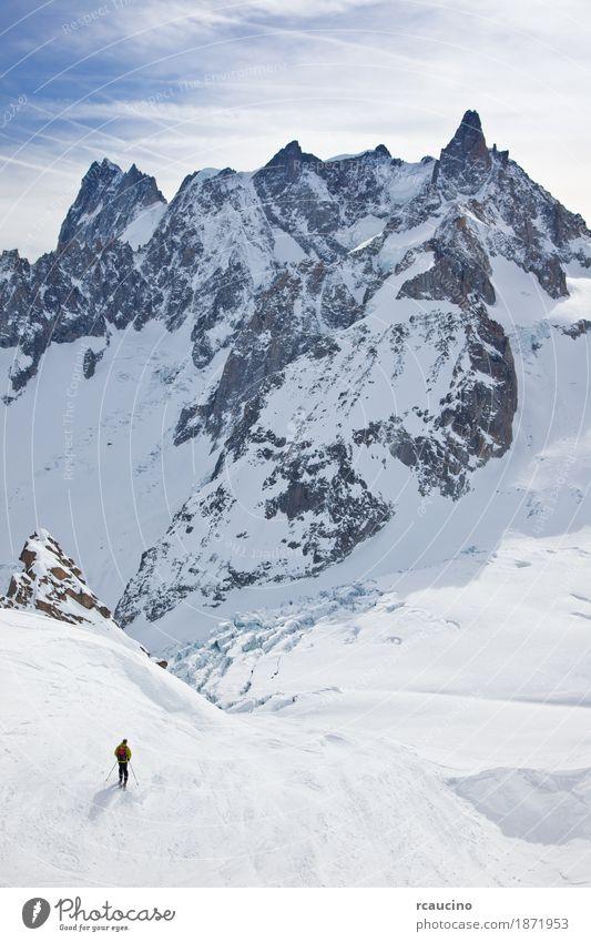 Grandes Jourasses, weißes Tal, Chamonix, Mont Blanc, Frankreich Freude Abenteuer Winter Schnee Berge u. Gebirge Sport Skifahren Mann Erwachsene Landschaft