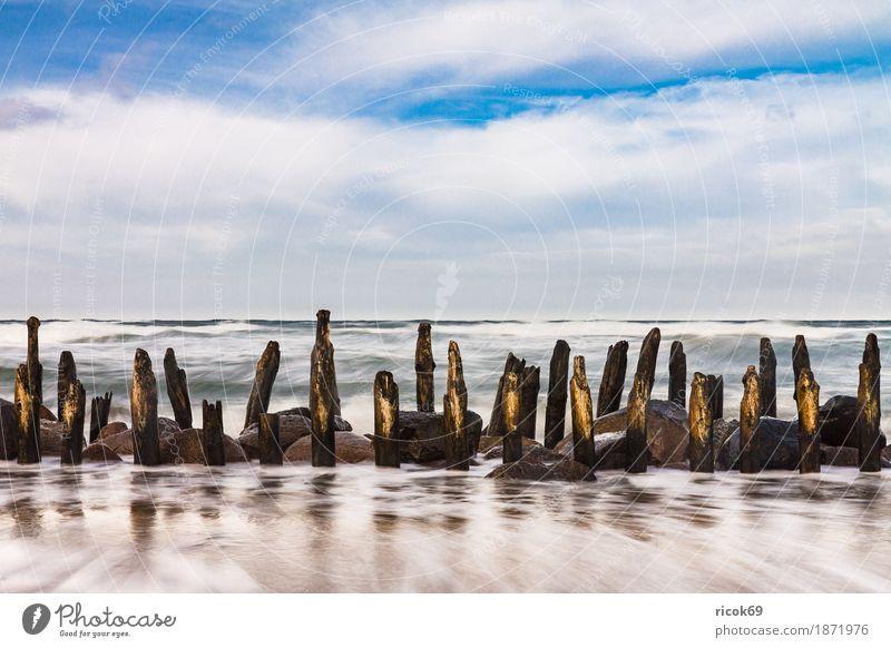 Buhnen an der Küste der Ostseeküste Erholung Ferien & Urlaub & Reisen Tourismus Strand Meer Wellen Natur Landschaft Wasser Wolken Sturm Stein Holz blau Romantik