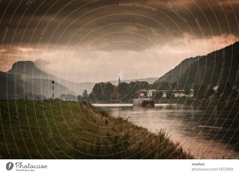 ein Schiff wird kommen Landschaft Pflanze Wasser Himmel Wolken Sonnenaufgang Sonnenuntergang Herbst schlechtes Wetter Regen Baum Gras Wiese Hügel Felsen
