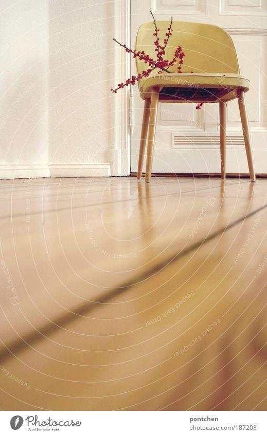 Daheim alt weiß Pflanze rot gelb Stil Holz Raum Wohnung Tür Design elegant Lifestyle ästhetisch retro Stuhl