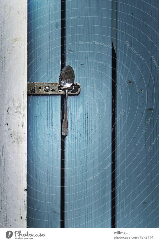 die löffellösung | antikapitalismus Löffel Sicherheit sparsam Versicherung Tür Verschluss geschlossen schließen Platzhalter Kreativität blau weiß Türverschluss