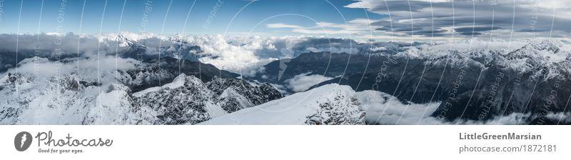 Misty Mountains [4] Himmel Natur blau weiß Landschaft Einsamkeit Wolken Berge u. Gebirge schwarz kalt Schnee Freiheit grau Felsen Horizont Nebel
