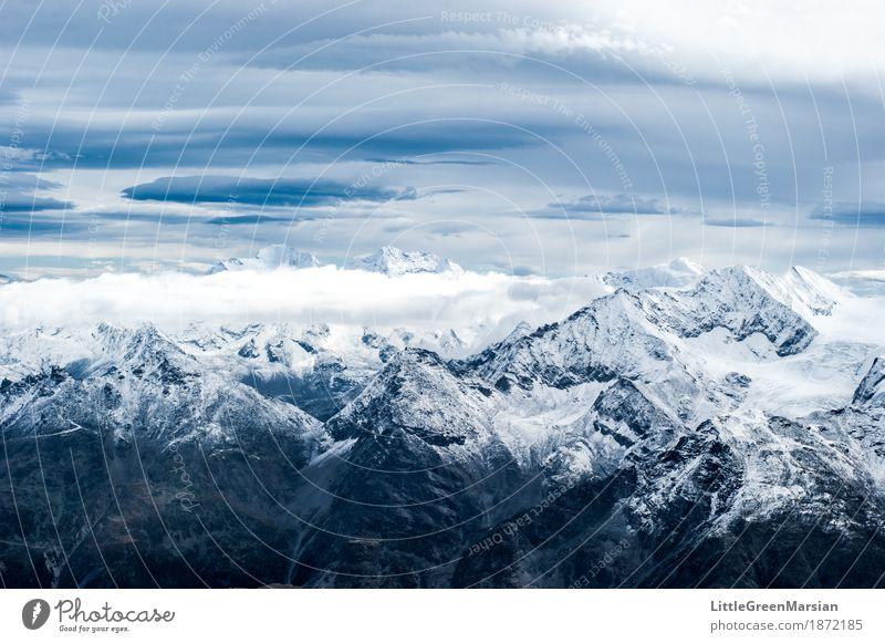 Misty Mountains [2] Klettern Bergsteigen wandern Natur Landschaft Urelemente Himmel Wolken Winter Eis Frost Schnee Felsen Alpen Berge u. Gebirge Gipfel