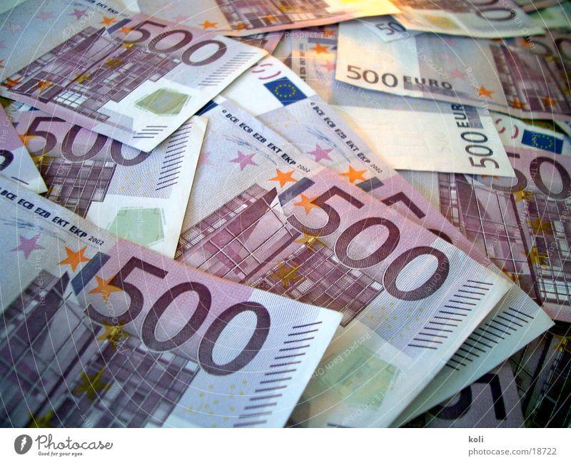 Viele Euros Geld Geldscheine Besitz 500