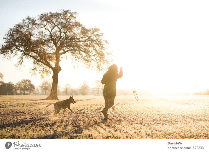 Bewegung Gesundheit Leben Zufriedenheit Spielen Mensch feminin Frau Erwachsene Jugendliche 1 Natur Landschaft Wolkenloser Himmel Sonne Sonnenaufgang
