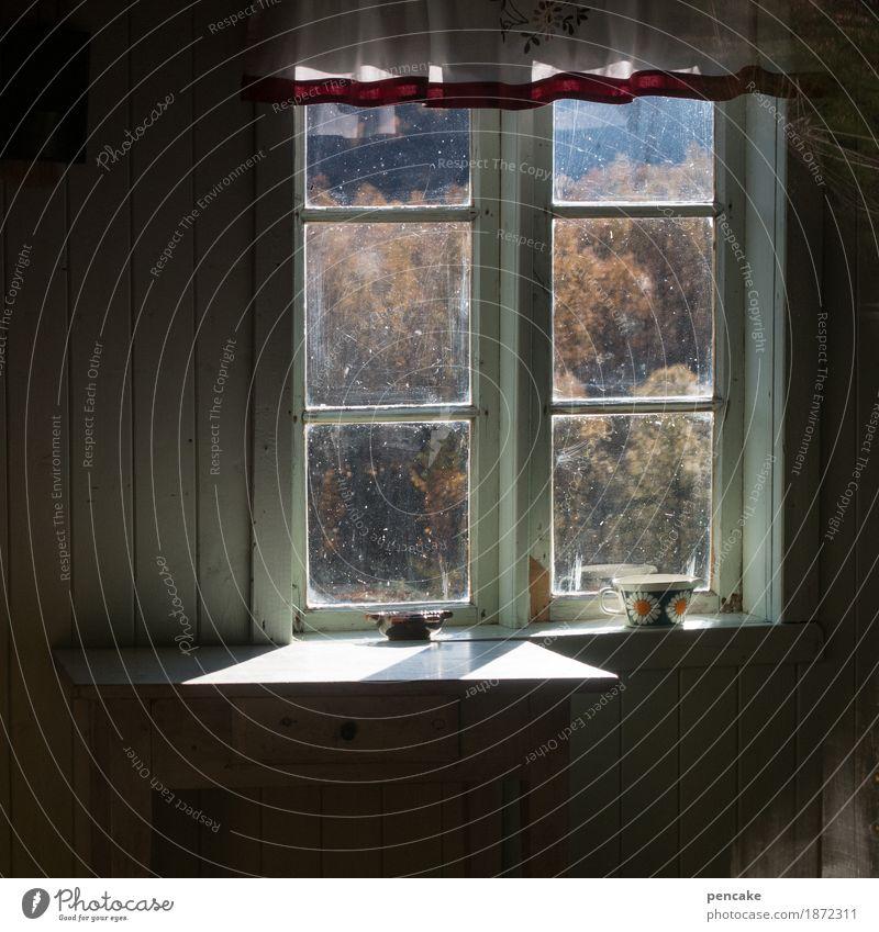 einfach leben Natur Landschaft Haus ruhig Fenster Berge u. Gebirge Leben Herbst Stimmung authentisch Lebensfreude Fensterblick Vorsicht friedlich Norwegen