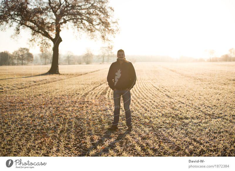 morgenstund hat gold im mund Mensch Natur Ferien & Urlaub & Reisen Jugendliche Mann schön Junger Mann Landschaft Erholung ruhig Ferne Winter Erwachsene Umwelt