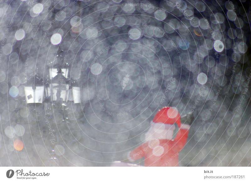 HOAH, HOAH, HOAH!! Weihnachten & Advent rot Freude Winter dunkel kalt Schneefall Stimmung Feste & Feiern glänzend rund Kitsch Weihnachtsmann Laterne Vorfreude