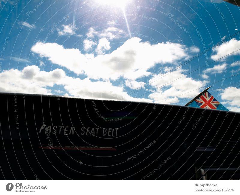 Fasten Seat Belt Sonne Ferien & Urlaub & Reisen Wolken PKW Verkehr Sicherheit Fahne Island Wunsch Großbritannien Typographie Schönes Wetter Text Verbindung