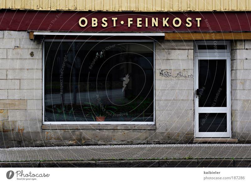 Gourmet Tempel Stadt rot Fenster grau Gebäude Lebensmittel Tür Frucht Fassade Schilder & Markierungen Armut Vergänglichkeit Ladengeschäft Verfall Vergangenheit Bürgersteig