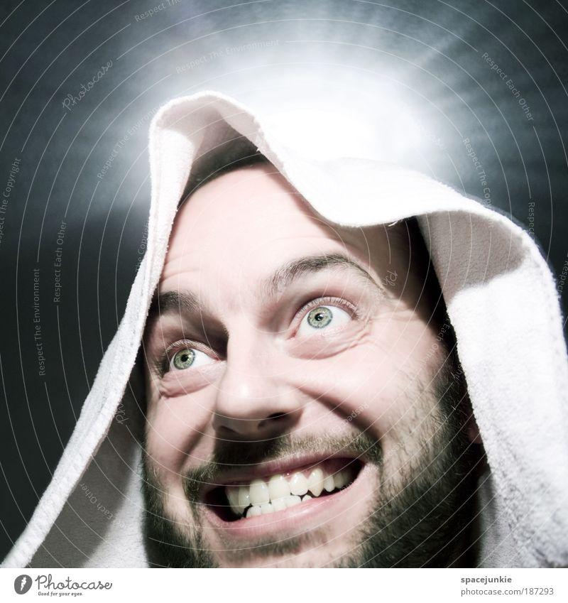 Engel Mensch Mann Erwachsene Gesicht Kopf lachen glänzend maskulin Fröhlichkeit verrückt Engel Porträt Zähne Lächeln Bart obskur