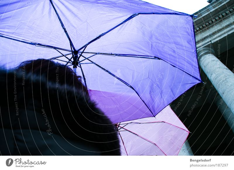 Regenschirm-Polonaise Mensch Wasser Wassertropfen Wetter schlechtes Wetter Gewitter Eis Frost Schnee bevölkert Platz Bekleidung Jacke Mantel warten stehen kalt