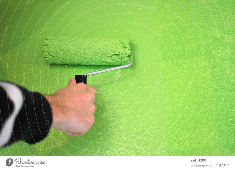 Hoffnung Mensch maskulin Arme Hand 1 Haus Mauer Wand streichen ästhetisch authentisch Wärme grün schwarz weiß Freude Glück Fröhlichkeit Stress Bewegung Farbfoto