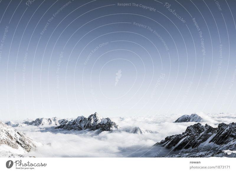 berge Wolken Wolkendecke Schnee Berge u. Gebirge Gipfel kalt Gletscher fliegen Klettern Bergsteigen Winter Höhe Zugspitze Alpen