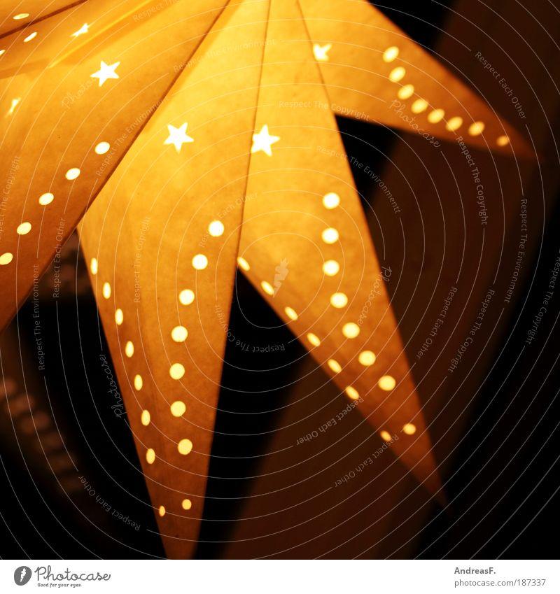 Weihnachtsstern Dekoration & Verzierung Lampe leuchten gelb Weihnachten & Advent Weihnachtsdekoration Stern (Symbol) Sternenhimmel Lampenschirm Farbfoto
