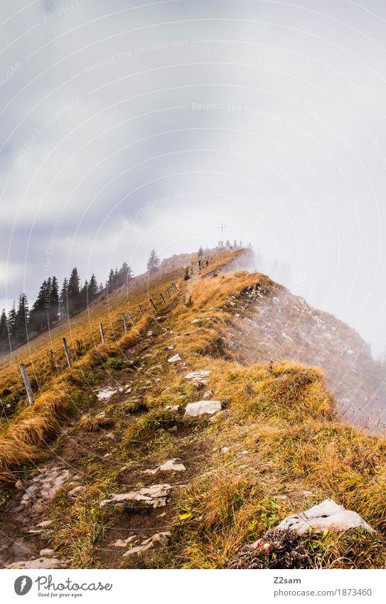 ein langer weg Frau Natur Sonne Landschaft Einsamkeit Wolken Ferne Berge u. Gebirge Erwachsene Herbst Wege & Pfade natürlich Sport Nebel wandern Idylle