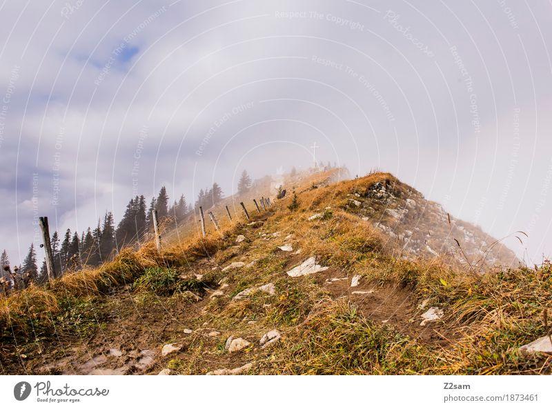 fast da Berge u. Gebirge wandern Natur Landschaft Himmel Wolken Herbst Nebel Alpen bedrohlich Unendlichkeit natürlich ruhig Einsamkeit Abenteuer Erholung