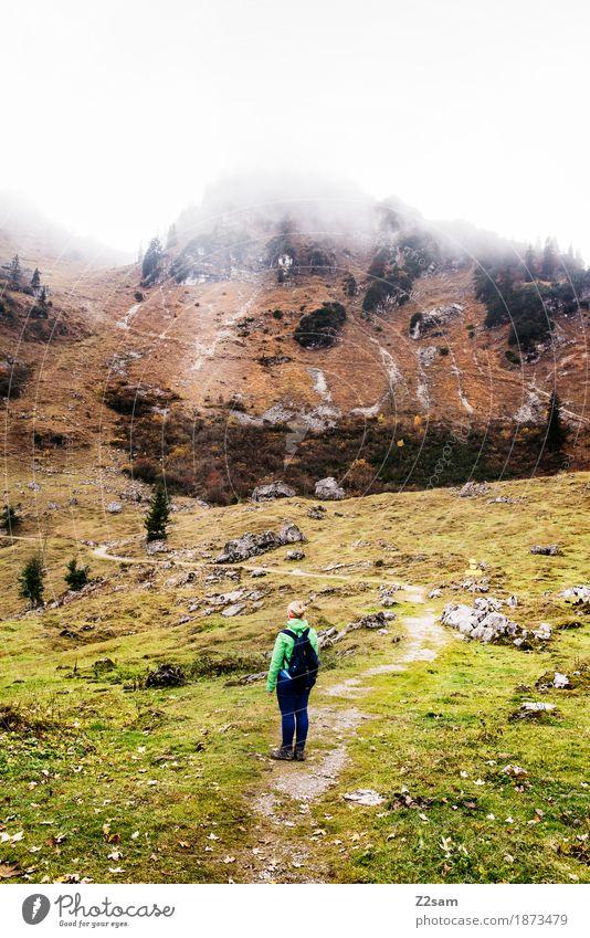 Puh, das müssen wir alles hoch? Natur Jugendliche grün Junge Frau Landschaft Einsamkeit dunkel Berge u. Gebirge Erwachsene Herbst Wiese natürlich Sport braun