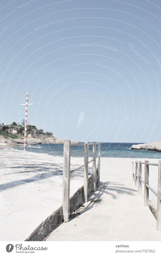 vamos a la playa Himmel blau Wasser Ferien & Urlaub & Reisen Meer Sommer Strand ruhig Erholung Wege & Pfade Küste Sand Wellen Felsen Insel ästhetisch