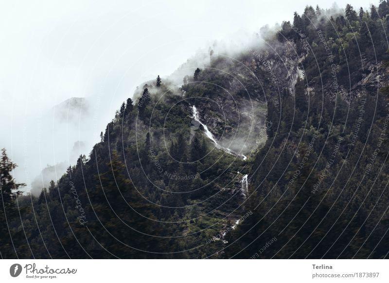 Mountain view Natur Landschaft Himmel Wolken Nebel Baum Berge u. Gebirge Wasserfall authentisch Ferne Flüssigkeit frei groß hoch natürlich oben Originalität