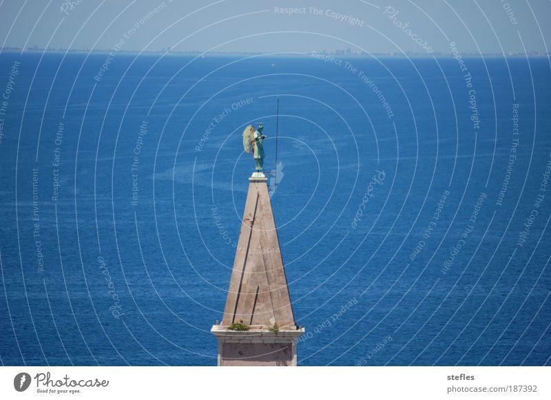 Der Wächter Ferien & Urlaub & Reisen blau Wasser Sommer Meer Erholung ruhig Landschaft Ferne Küste Stein Stimmung Wellen Schönes Wetter Kirche Turm