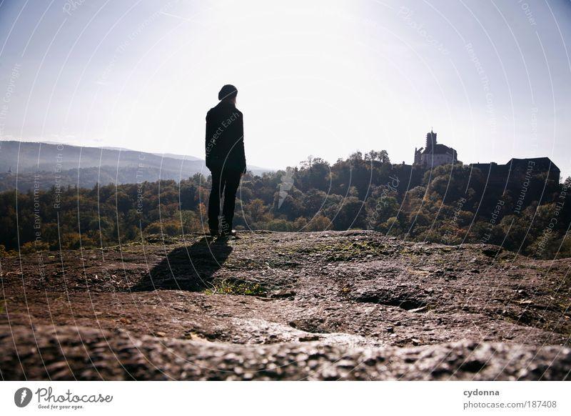 Neue Heimat Natur ruhig Wald Ferne Erholung Umwelt Landschaft Leben Freiheit träumen Horizont Zeit Zufriedenheit Thüringen Felsen wandern