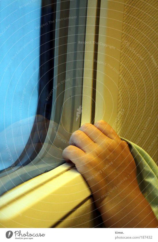 durchhalten Flugzeug im Flugzeug fliegen Luftverkehr Fenster Hand Sitz Glas Tuch gelb Finger festhalten Halt Innenaufnahme Verglasung Sicherheit Wärme hoch