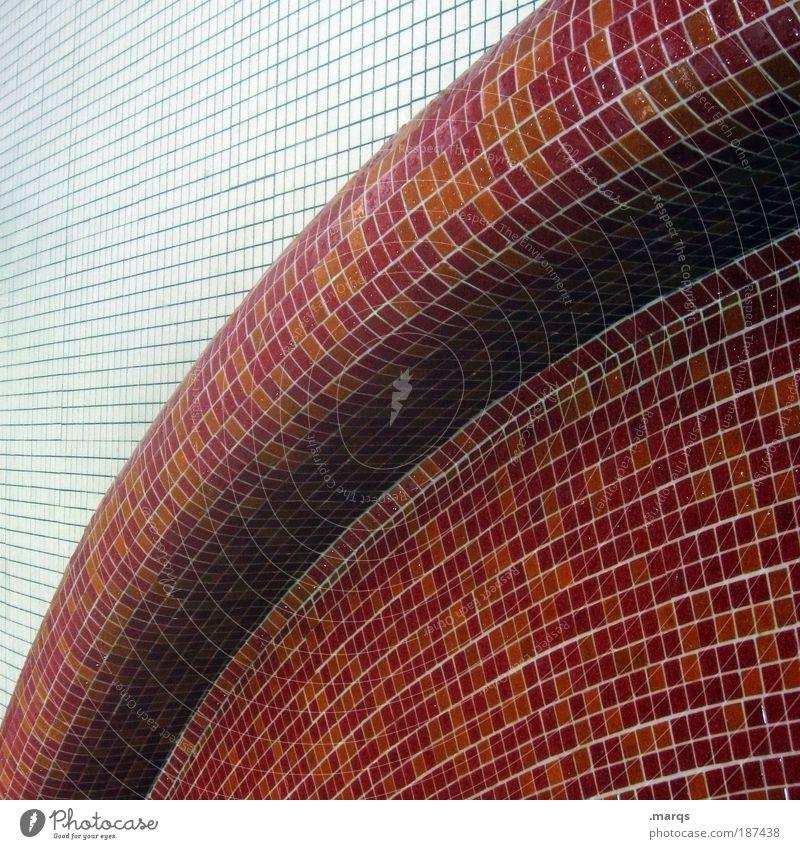 Bent elegant Stil Design Mauer Wand Linie außergewöhnlich eckig einfach rund rot weiß Fliesen u. Kacheln Kurve Grafik u. Illustration Mosaik Gedeckte Farben