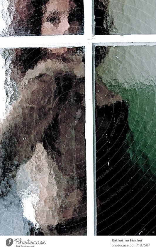 The Woman behind the window Frau weiß grün schön Erwachsene feminin Fenster Kunst braun modern ästhetisch außergewöhnlich Kreativität Locken brünett Mantel