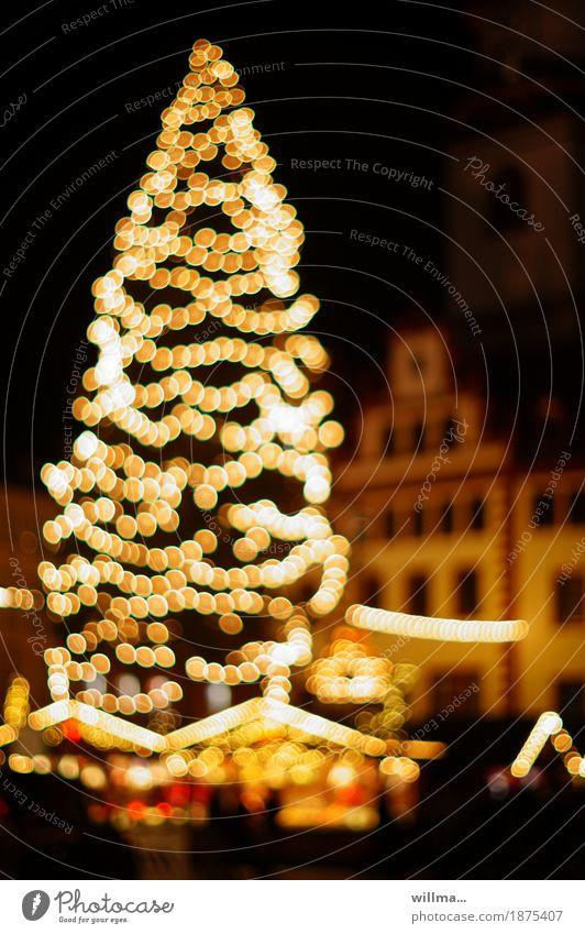 Weihnachtsmarkt Weihnachten & Advent Weihnachtsbaum Weihnachtsbeleuchtung Lichterkette Buden u. Stände Chemnitz Rathaus Tradition Unschärfe Blendenfleck Sachsen