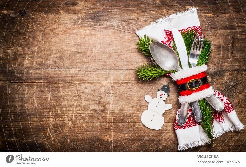 Tischdekoration zu Weihnachten Ernährung Festessen Geschirr Besteck Messer Gabel Löffel Stil Design Freude Häusliches Leben Innenarchitektur