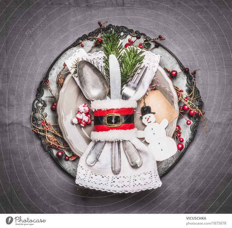 Tischdekoration zu Weihnachten mit Teller und Besteck Weihnachten & Advent Freude Stil Feste & Feiern Party Stimmung Design Häusliches Leben Ernährung Dekoration & Verzierung Tisch Zeichen Veranstaltung Restaurant Tradition Geschirr