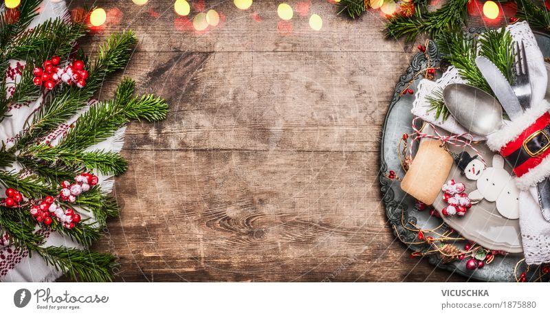Festliche Weihnachten Tischdekoration Ernährung Festessen Geschirr Teller Besteck Messer Gabel Löffel elegant Stil Design Freude Häusliches Leben Wohnung