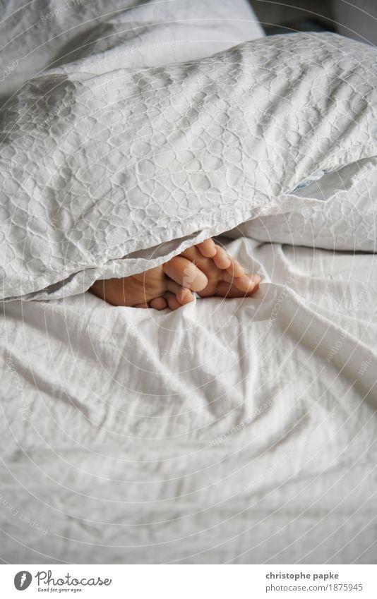 Easy like sunday morning Häusliches Leben Wohnung Bett Schlafzimmer feminin Frau Erwachsene Fuß 1 Mensch schlafen Barfuß Decke Bettdecke liegen Zehen Bettlaken