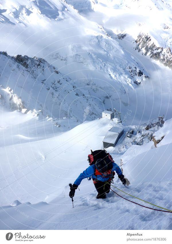 Tiefblick Natur Landschaft Berge u. Gebirge kalt Schnee Felsen Eis wandern Kraft Erfolg Abenteuer Fitness Hügel Gipfel Frost Alpen
