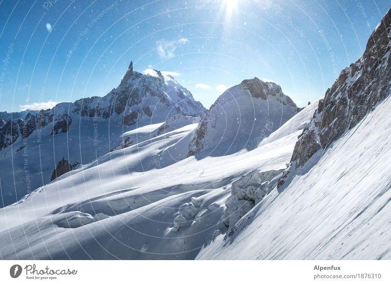 Der Zahn des Riesen Natur weiß Landschaft Berge u. Gebirge kalt Felsen Eis wandern Erfolg Abenteuer Fitness Gipfel Frost Alpen Schneebedeckte Gipfel Höhenangst