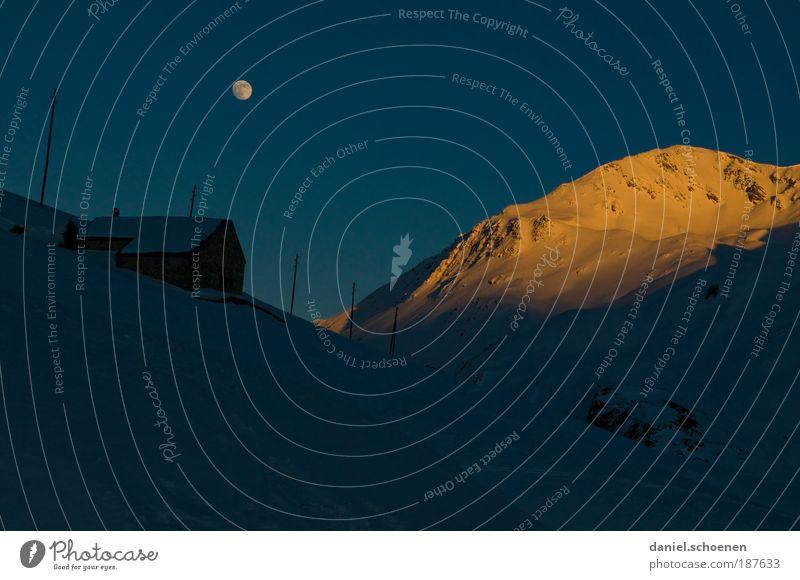 Vollmondabfahrt Ferien & Urlaub & Reisen Tourismus Ausflug Freiheit Winter Schnee Winterurlaub Berge u. Gebirge Wolkenloser Himmel Nachthimmel Mond