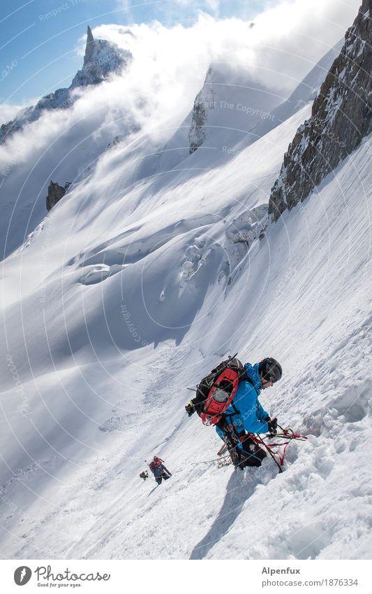 Nordwand Klettern Bergsteigen Natur Landschaft Schönes Wetter Eis Frost Schnee Felsen Alpen Berge u. Gebirge Gipfel Gletscher wandern kalt weiß Erfolg Kraft