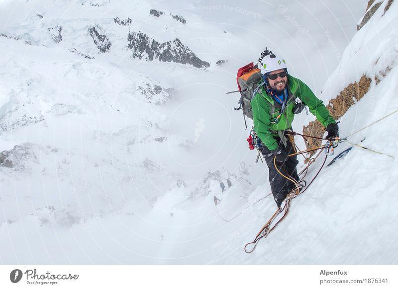Lächeln nicht vergessen ! Natur Landschaft Freude Berge u. Gebirge Felsen Tourismus Eis Erfolg Abenteuer Sicherheit Frost Alpen Höhenangst Risiko Klettern