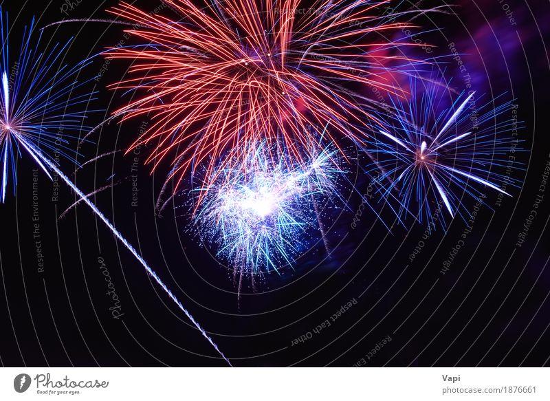Blaue und rote bunte Feuerwerke auf dem schwarzen Himmel blau Weihnachten & Advent Farbe weiß Freude dunkel gelb Kunst Feste & Feiern Party orange hell neu