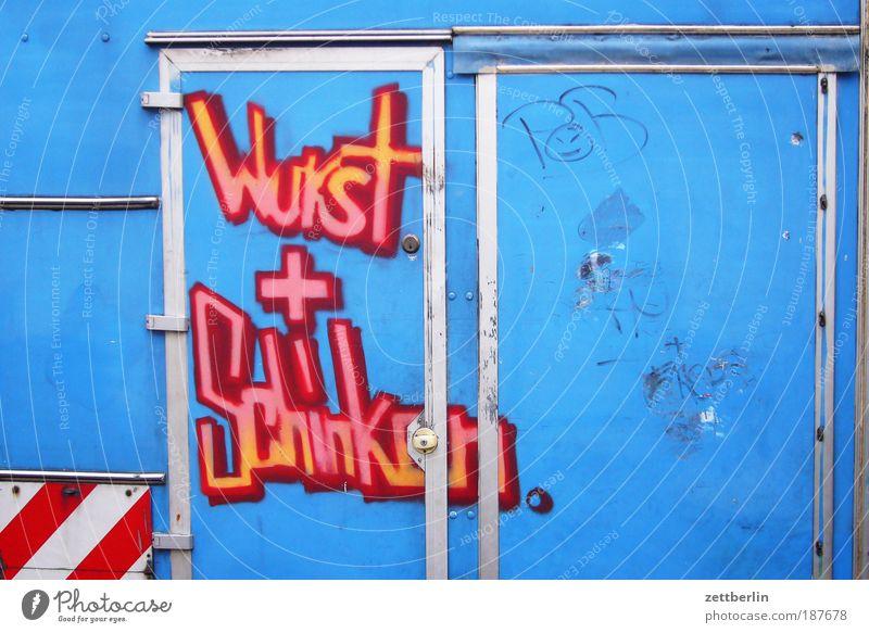 Wurst + Schinken Ernährung stehen Schriftzeichen Information Werbung Ladengeschäft Mobilität Lebensmittel Markt Wort Fleisch verkaufen Werbebranche Wurstwaren