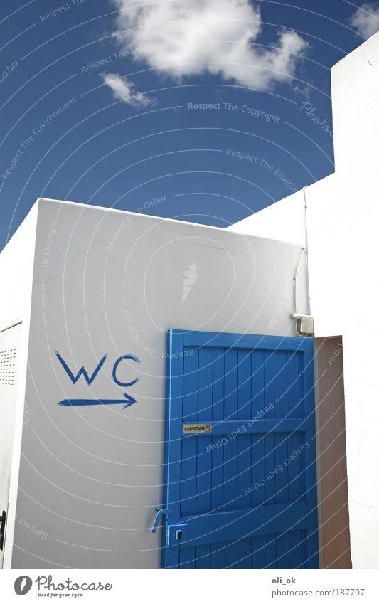 stilles Örtchen blau Wand Mauer Tür Bad Sauberkeit Toilette Zeichen skurril Reinlichkeit