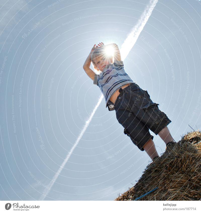 sunny Lifestyle Gesundheit Leben Spielen Junge Kindheit 1 Mensch 3-8 Jahre Umwelt Natur Himmel Sonne Sonnenlicht Klima Klimawandel Wetter Schönes Wetter Wärme