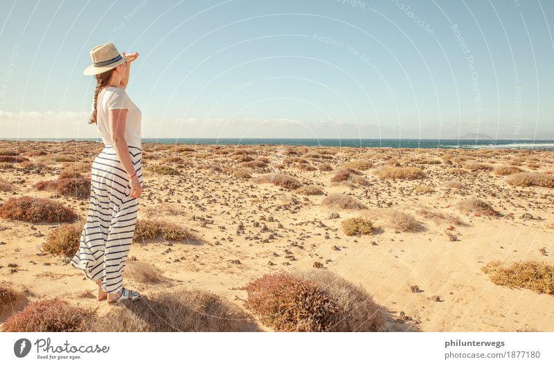 Ausblick Natur Ferien & Urlaub & Reisen Sommer Sonne Meer Landschaft Freude Ferne Strand Umwelt Gefühle Küste Glück Freiheit Sand Tourismus